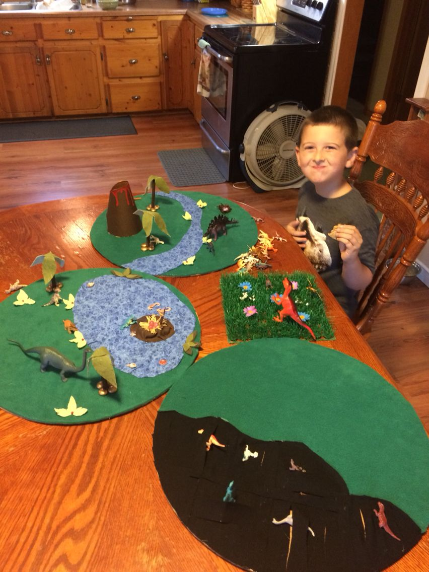 Dinosaur Playmats I Made From Cardboard And Scrap Material