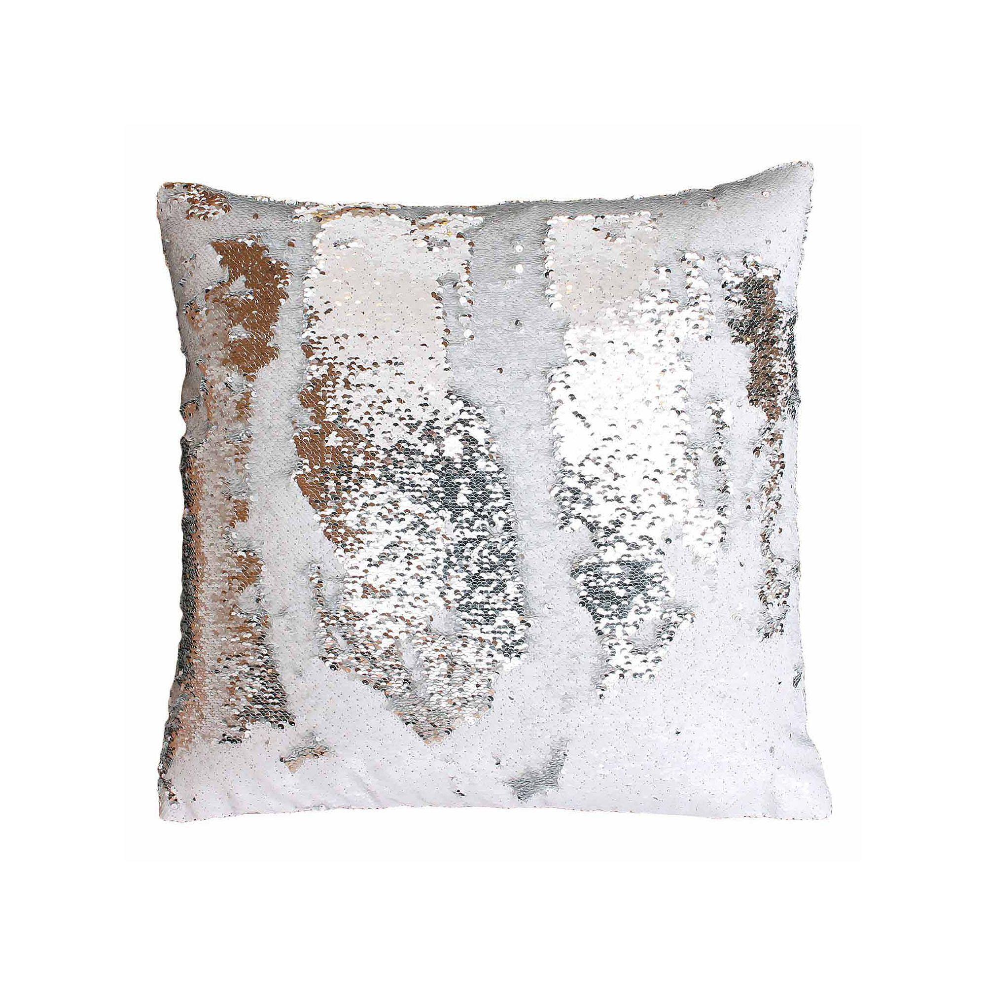 White MERMAID sequin Pillow cover White