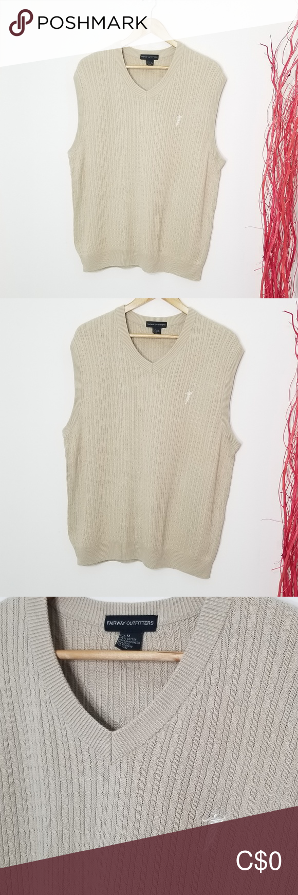 Fairway Outfitters Cable Knit Khaki Sweater Vest In 2020 Sweaters Cable Knit Knitting