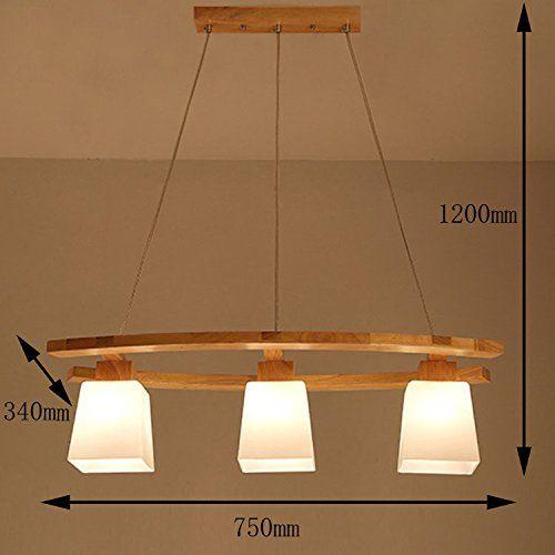 ZMH LED Pendelleuchte esstisch Deckenleuchte aus Holz und Glasschirm