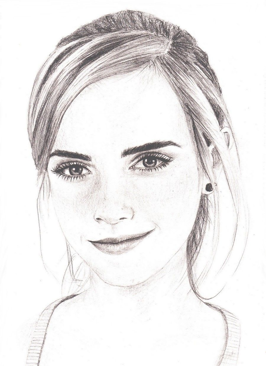 Emma watson drawing by bree on for Simple and easy sketches