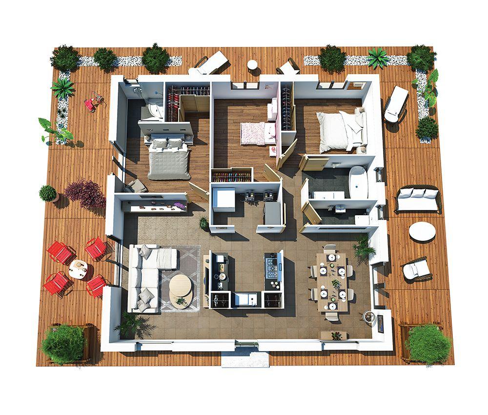 Couleurs villa vous propose la villa dona moderne for Petite villa moderne interieur