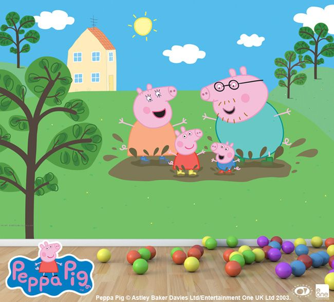 peppa pig mural Buscar con Google Lulus Birthday Party Peppas