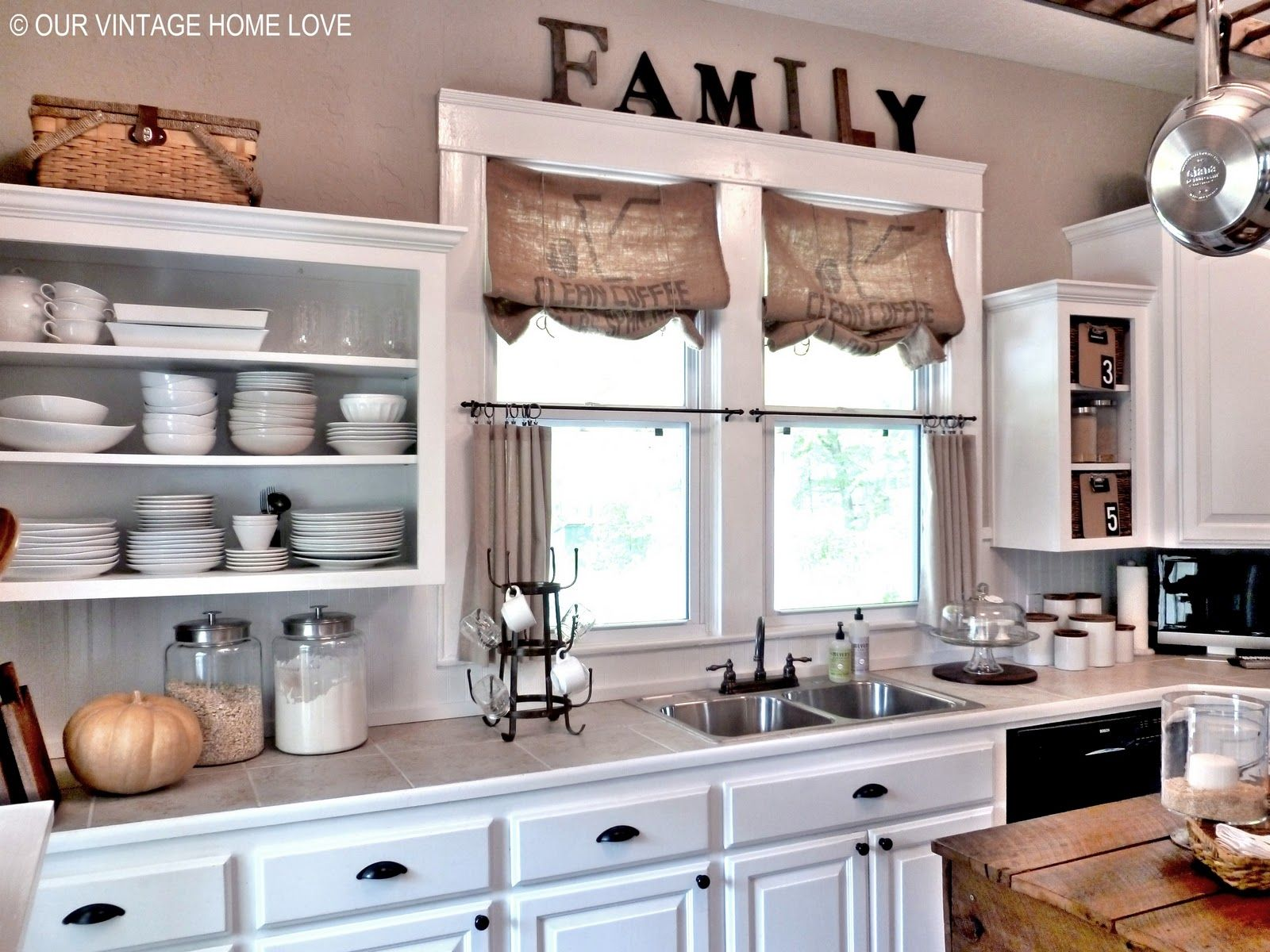 Shelf over kitchen window  erin this could be so fun in your kitchen window treatment for
