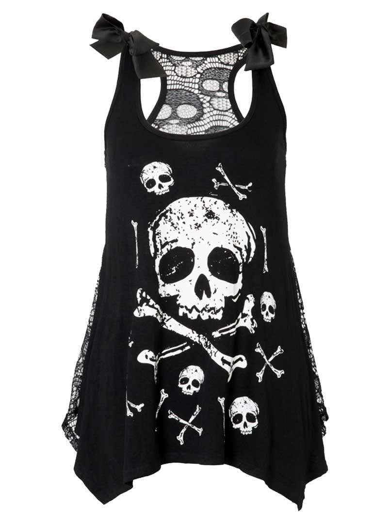 Jawbrekaer Alternative Fashion Emo Goth Punk crâne web Robe Chemise