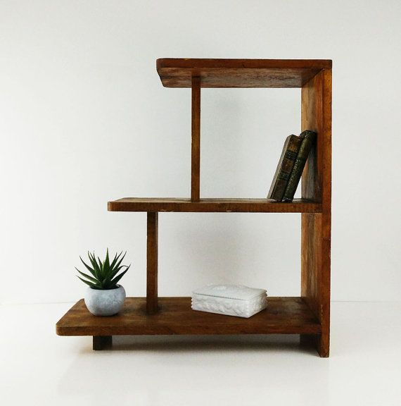 Vintage Handmade Wooden Shelf 3 Tier By Reconstitutions On Etsy Wooden Books Side Table Wood Wooden Shelves