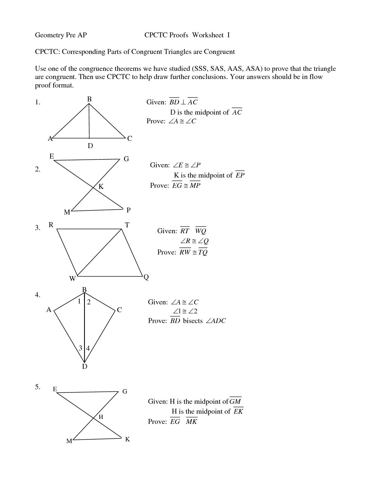 Congruent Triangles Worksheet Answers In