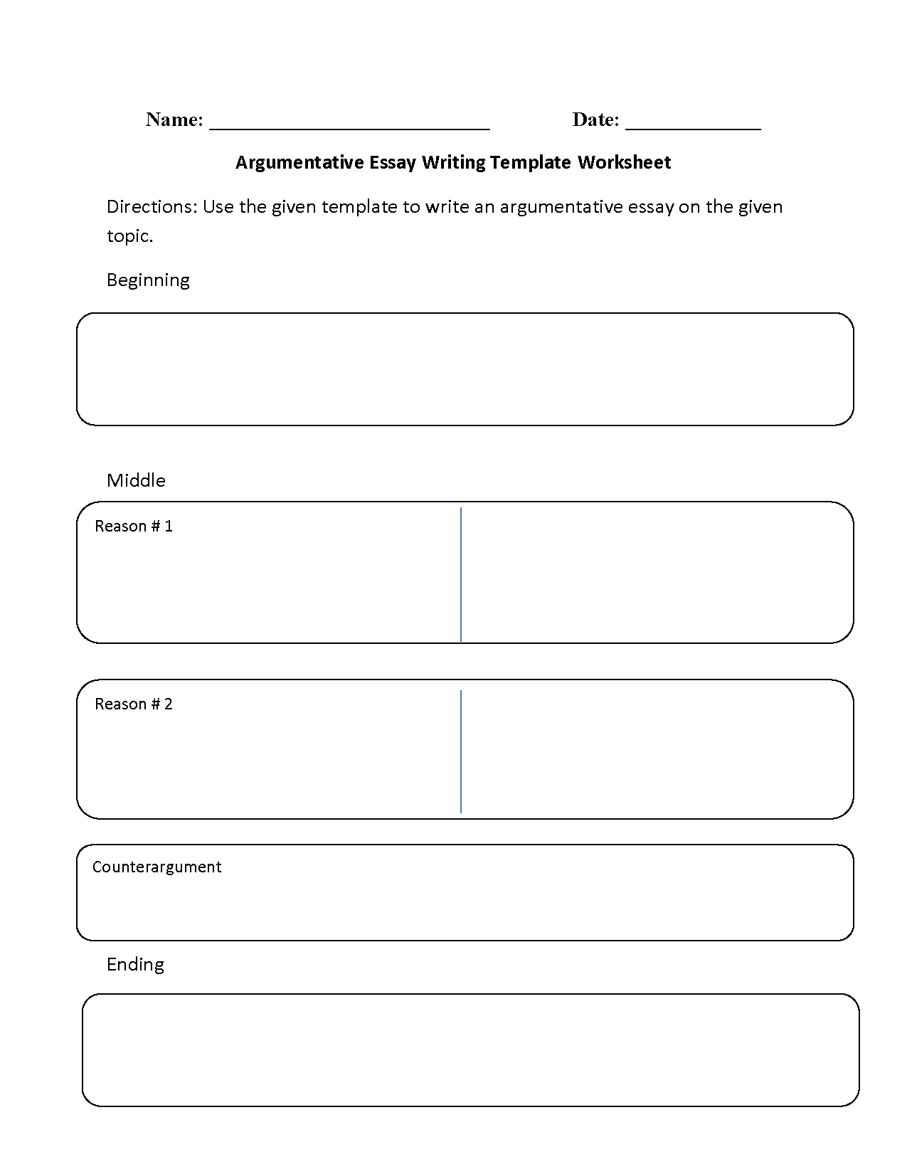 Argumentative Essay Writing Template Worksheet