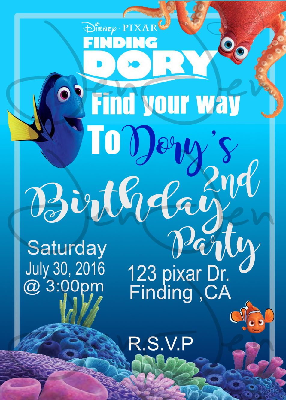 Finding Dory Party Invitation (you Print) | Finding dory, Party ...