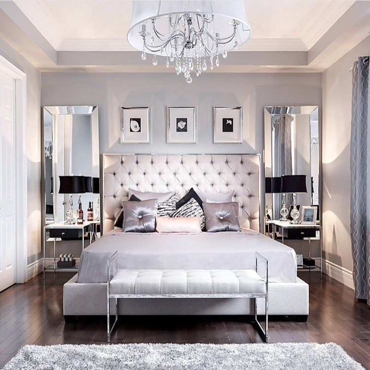 the chic technique beautiful bedroom decor tufted grey headboard mirrored furniture