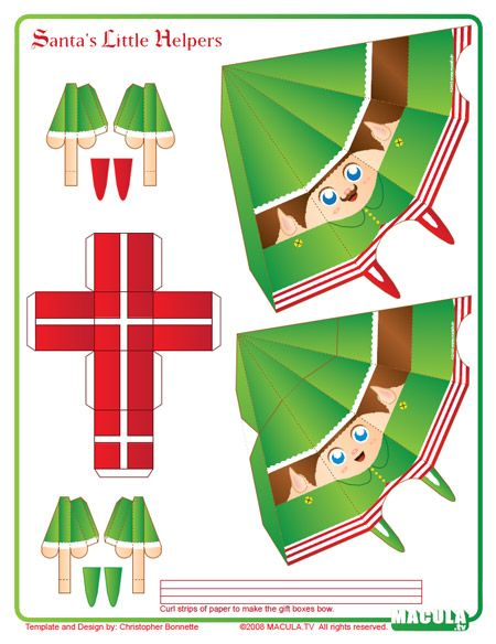Santa's Helper Paper Toy: Free printable on site | Paper ...