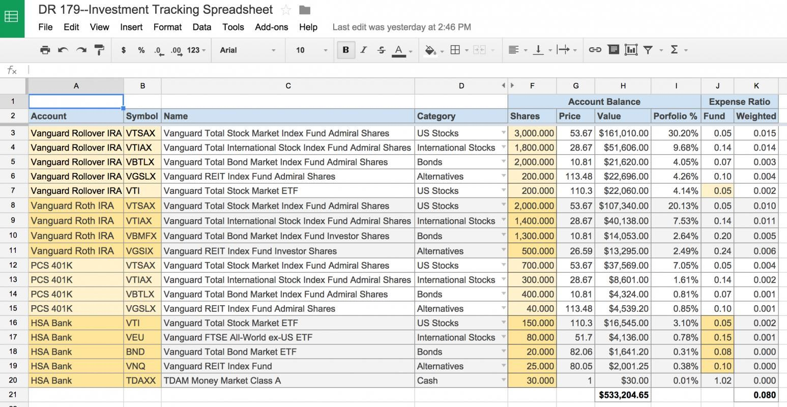 stock portfolio tracking spreadsheet business templates