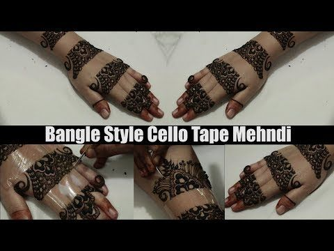 Easy Mehndi Ideas : Bangle style cello tape mehndi tutorial kangan