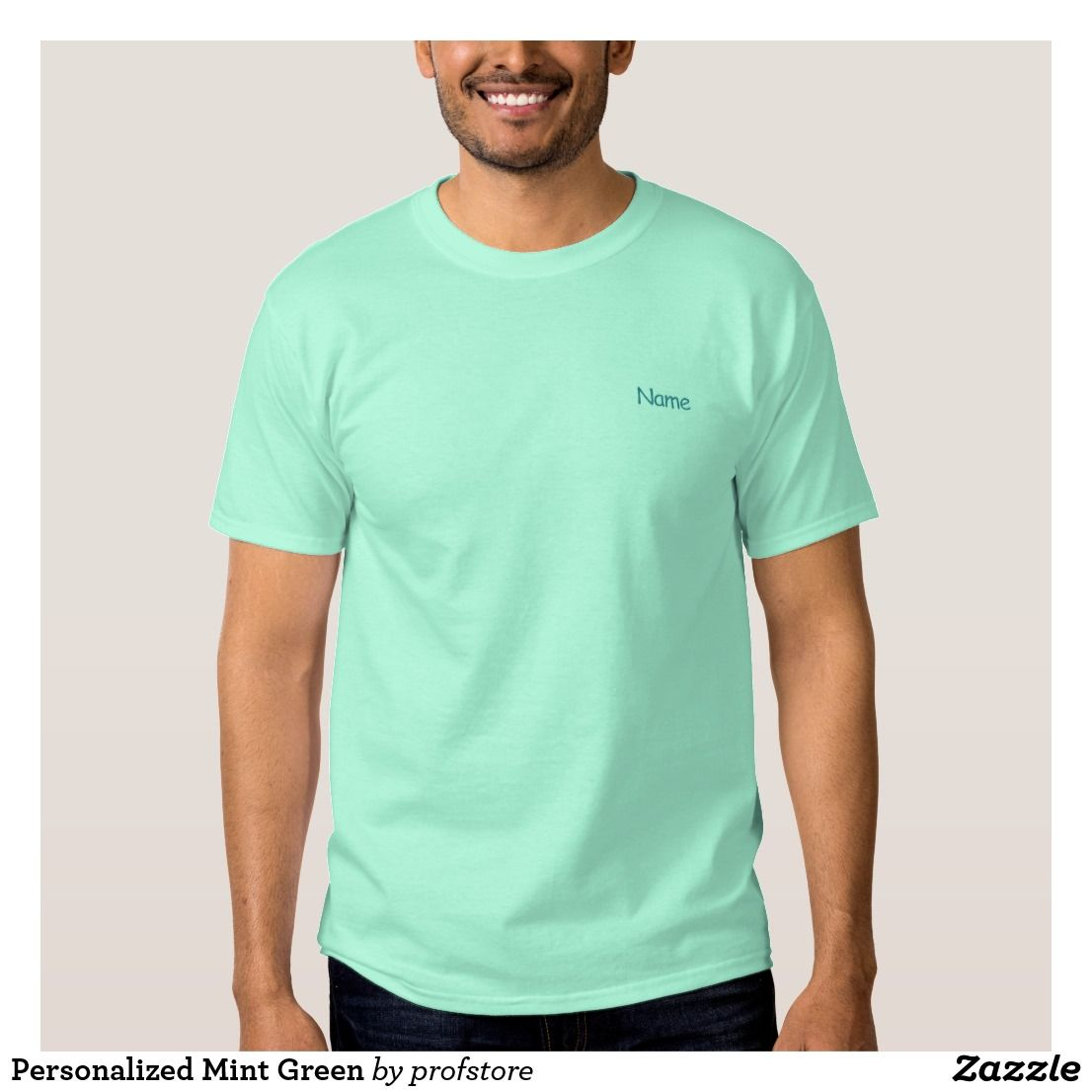 Personalized Mint Green Embroidered T Shirt Personalized Custom