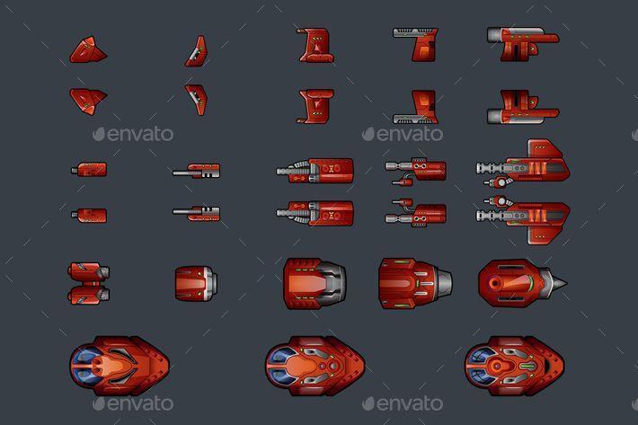 Spaceship 2D Sprites #Spaceship, #Sprites | Space fighter ...