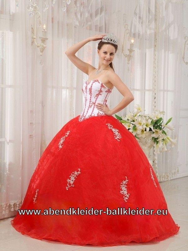 Rot Weisses Sissi Kleid Ballkleid Wolumen Abendkleid | Rote Kleider ...