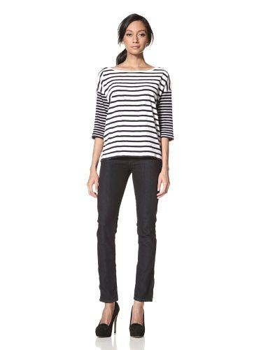 91% OFF French Connection Women\'s Sardenia Stripe Top (White/Black)
