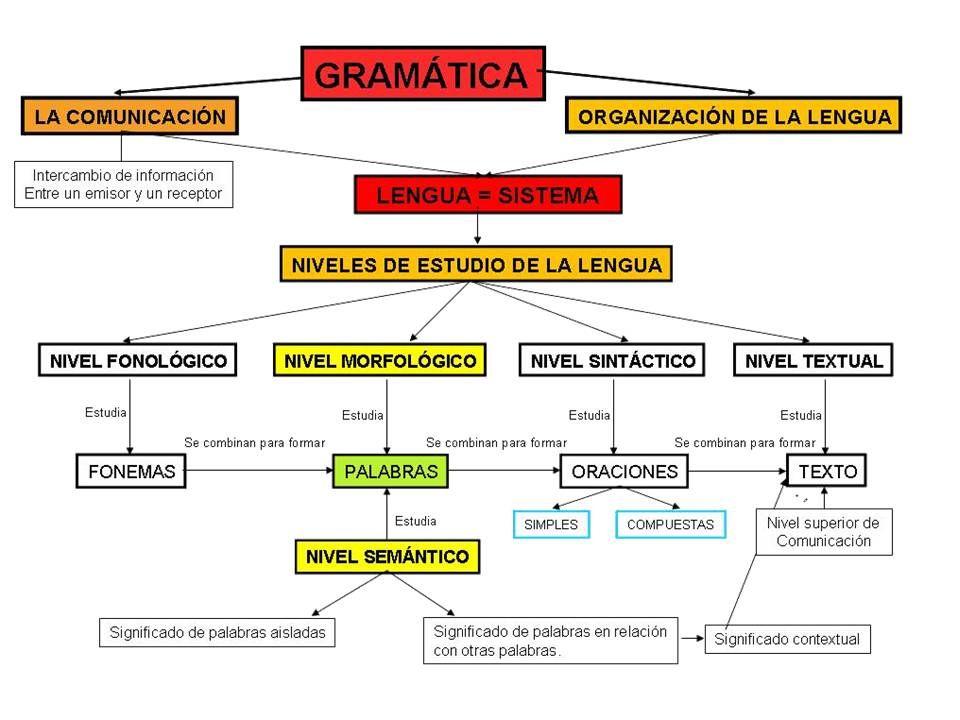 Mapa Conceptual De Gramática Niveles De La Lengua Habla Y