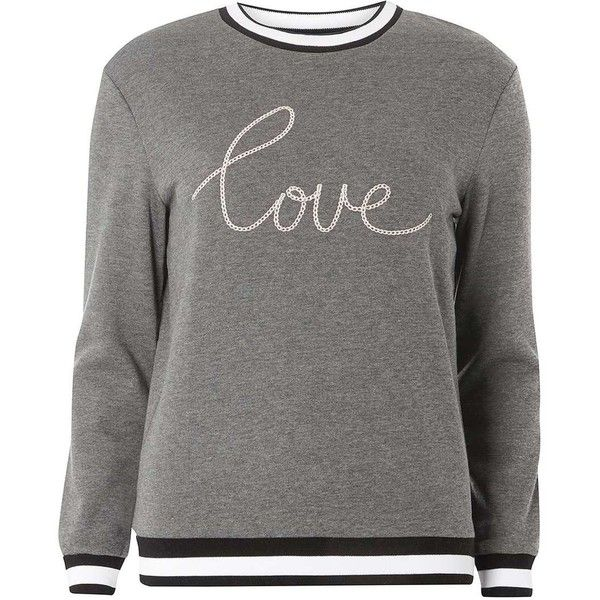Dorothy Perkins Grey 'Love' embroidered sweater ($22) ❤ liked on Polyvore featuring tops, sweaters, grey, embroidered top, long sleeve sweater, grey sweater, gray top and grey long sleeve sweater