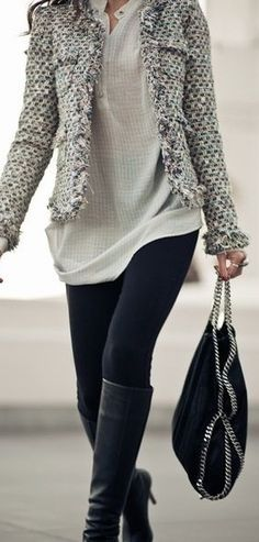 Create a similar look w/ our leggings. Stylish work outfit we love this!