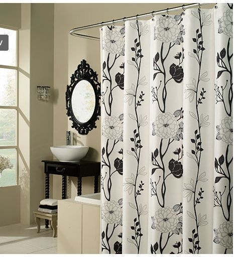 Black And White Flower Fabric Shower Curtain Casandra Shower Curtains Walmart White Shower Curtain Modern Shower Curtains