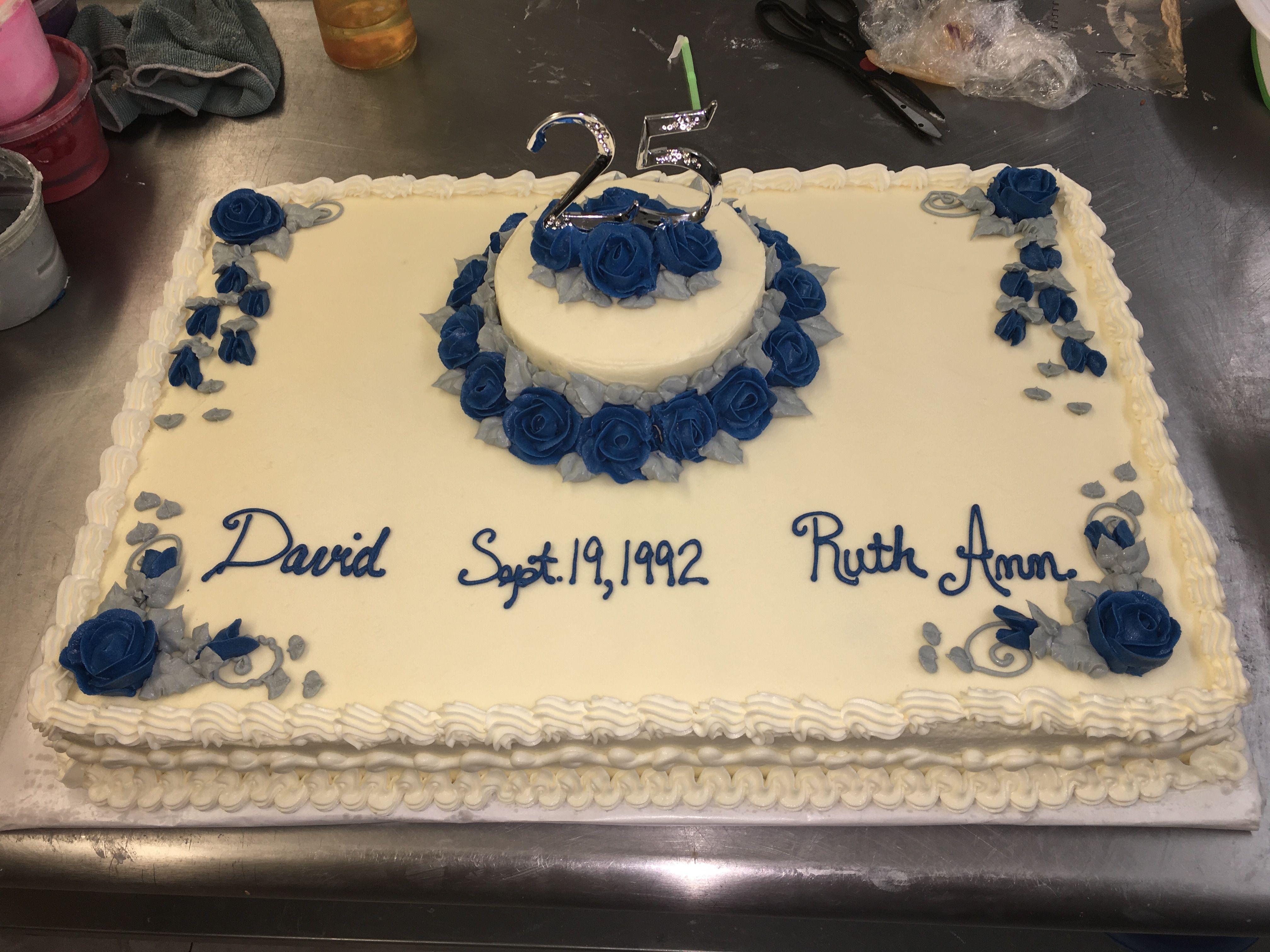 25th wedding anniversary cake, sheet cake, roses and vines ...