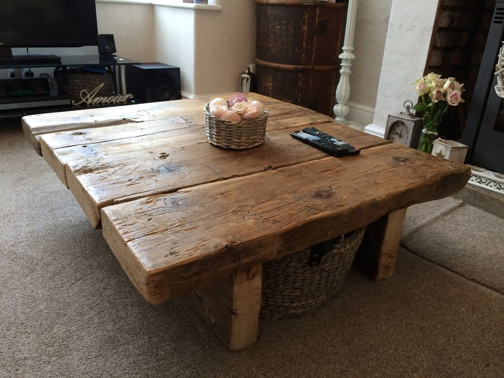 Reclaimed Pine Coffee Table   Rustic Furniture railway sleeper oak shabby  chicReclaimed Pine Coffee Table   Rustic Furniture railway sleeper oak  . Shabby Chic Dining Room Table Ebay. Home Design Ideas