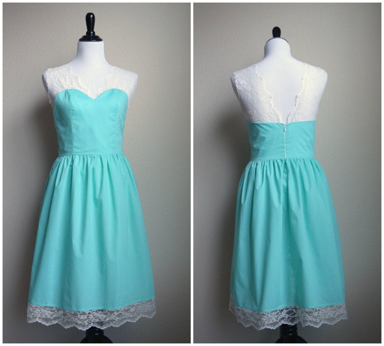Lace Cotton Mint Dress Bridesmaids - Custom size, color and ...
