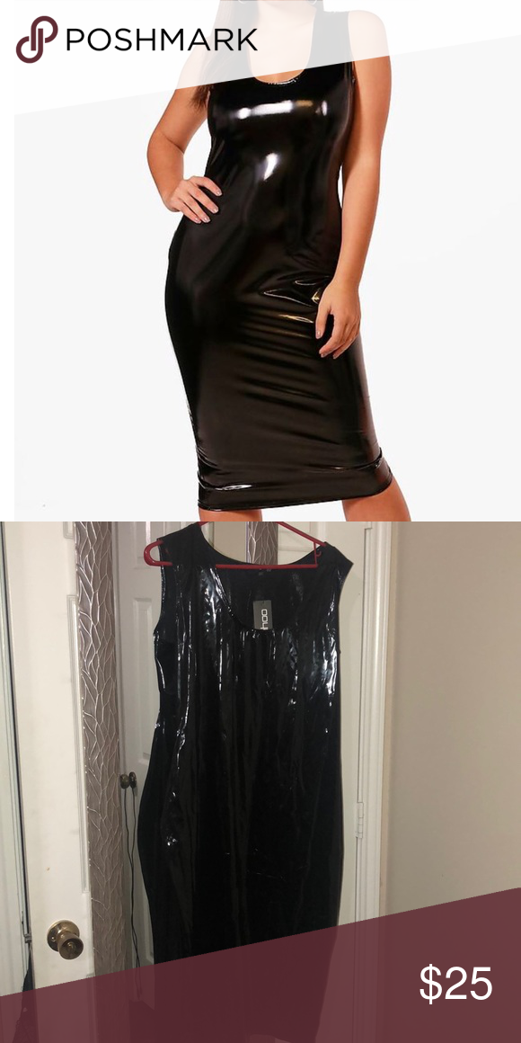 58c242cf9e1 Plus Size Booho Vinyl Leather Midi Dress Plus Size Vinyl Midi Dress Size 1X  - Super Stretchy. This would look bomb with a Strappy heel 💜💜 Boohoo Plus  ...