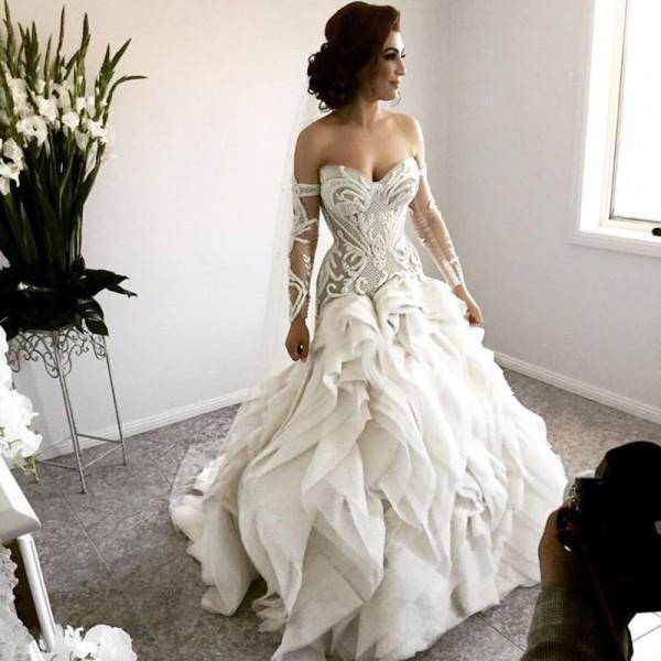 Unique Wedding Dresses With Color: Ruffles Unique Design Modest New Off The Shoulder