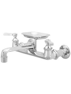 Mississippi Wall Mount Kitchen Faucet With Soap Holder And Flat Levers Wall Mount Kitchen Faucet