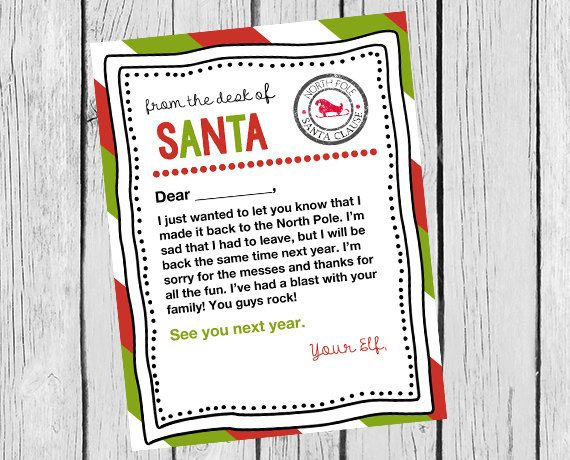 Note From Your Elf On The Shelf Goodbye Letter By Modernstarprint