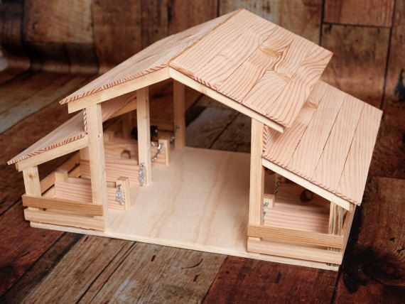 wood toy barn with 8 stalls schleich pferdestall spielzeug bauernhof holz und pferde stall. Black Bedroom Furniture Sets. Home Design Ideas