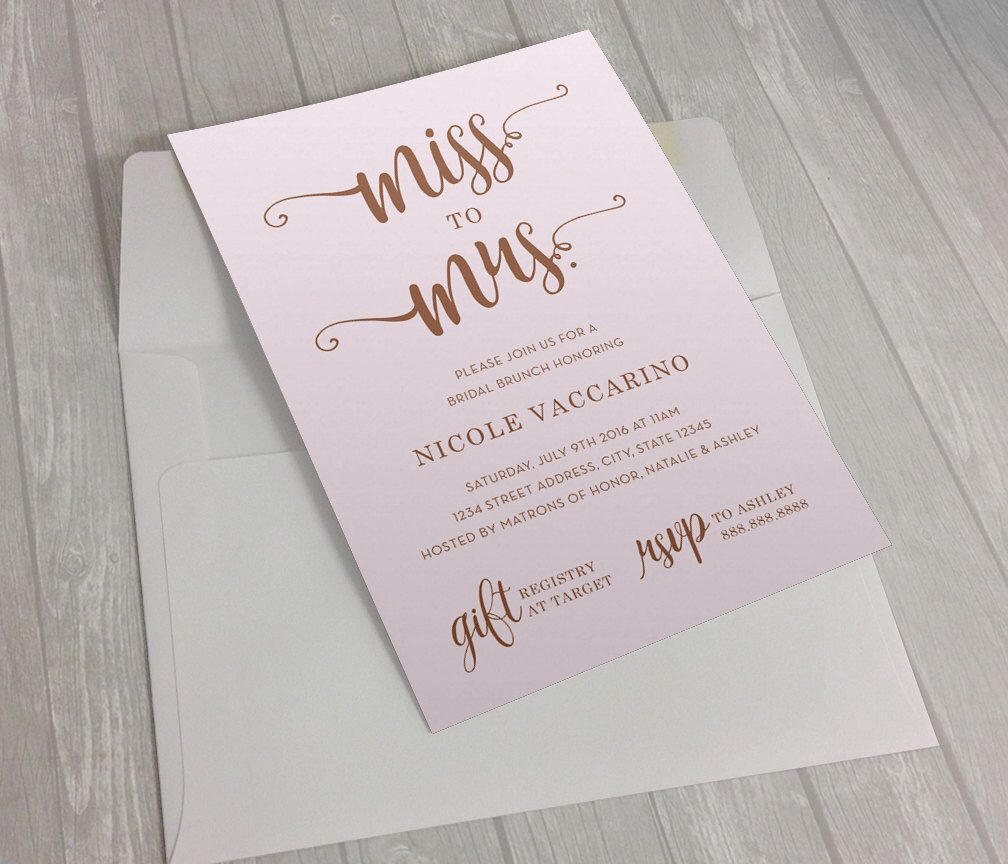 Bridal Shower Party Invitation (DIGITAL FILE) - Mint, pink, rose gold bridal shower invite 5x7 by BHDesignShop on Etsy https://www.etsy.com/listing/385015496/bridal-shower-party-invitation-digital