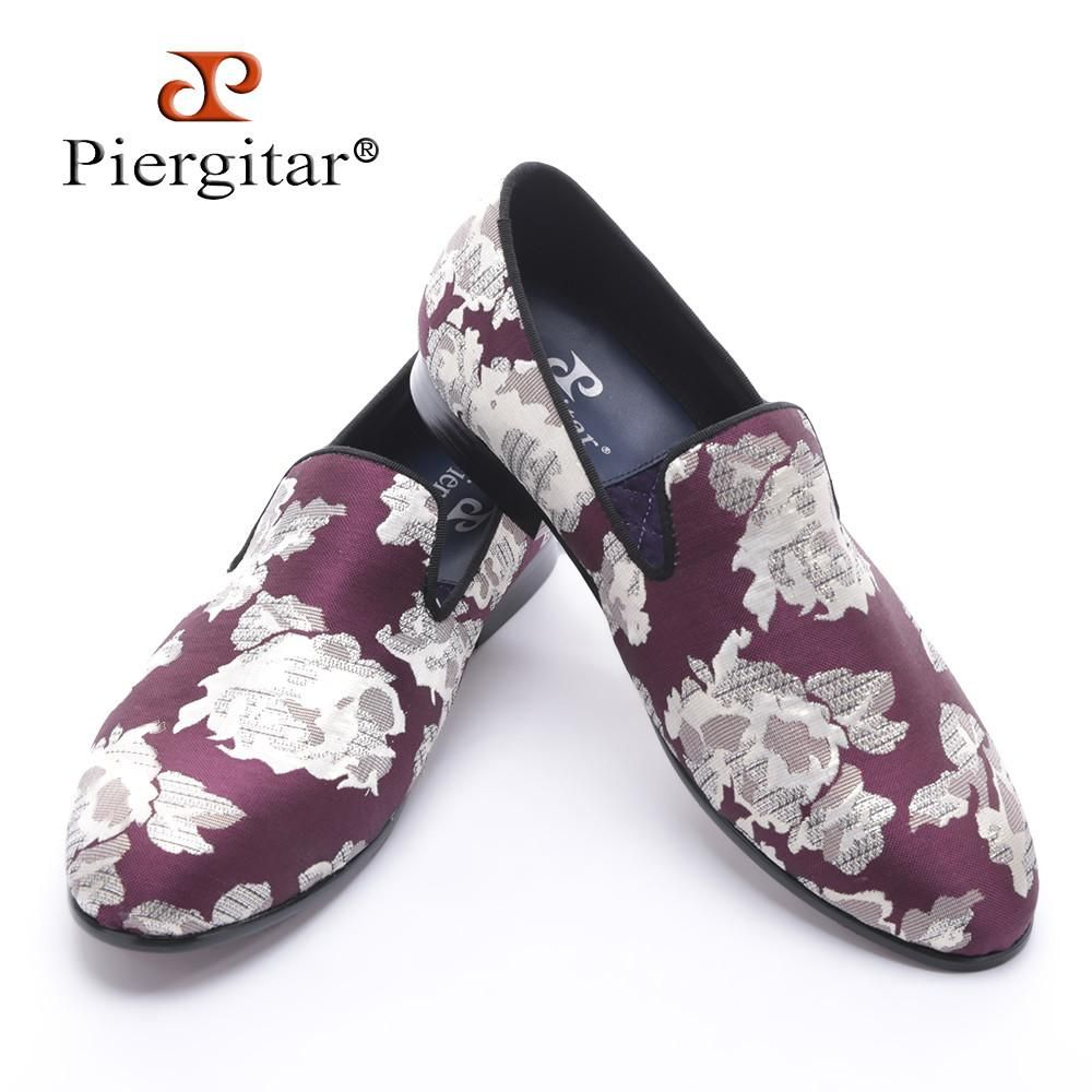 Purple dress with shoes  new arrival Purple jacquard fabric with White flowers handmade men