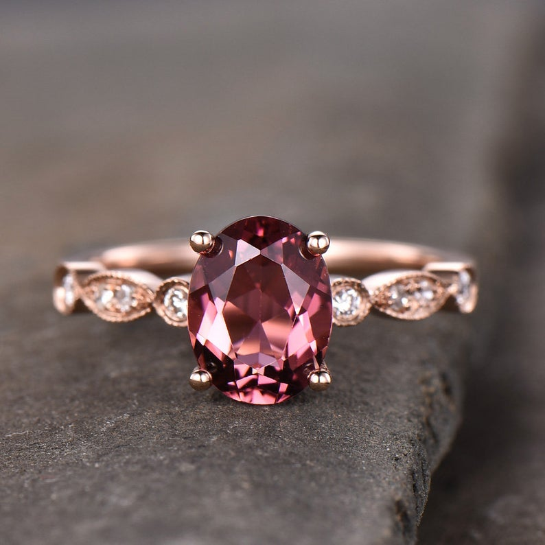 Photo of Pink Tourmaline Engagement Ring Natural Tourmaline Ring Oval Cut Art Deco Wedding Band October Birthstone Promise Ring Gift for her