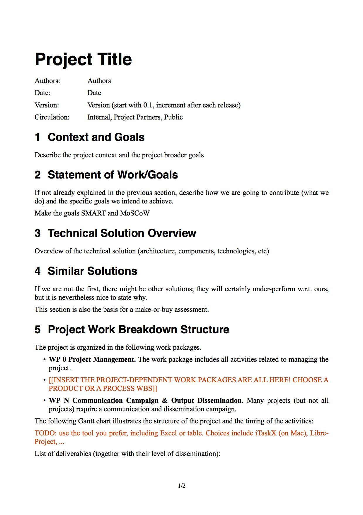 Scope Statement Template In 2020 Project Proposal Template