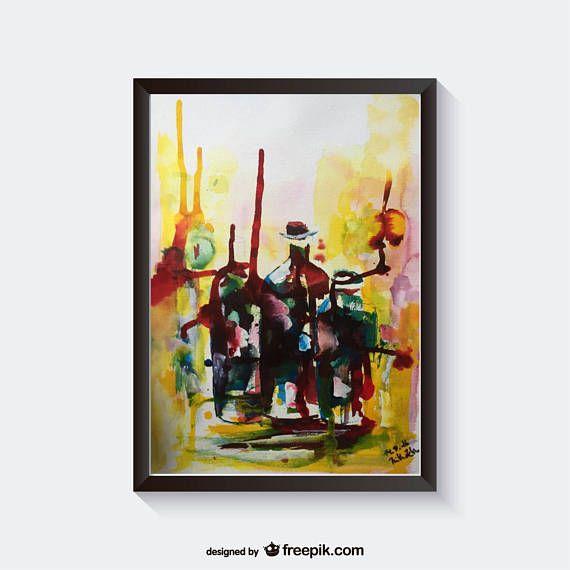 "Original Aquarell "" Flaschen "" abstrakte Malerei Kunst Watercolor Art abstract painting"
