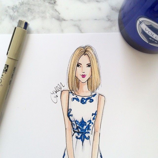Monday Blues (not gonna lie- I miss being blonde just a teeny bit!) #fashionillustration #onmydesk #favoritecandle