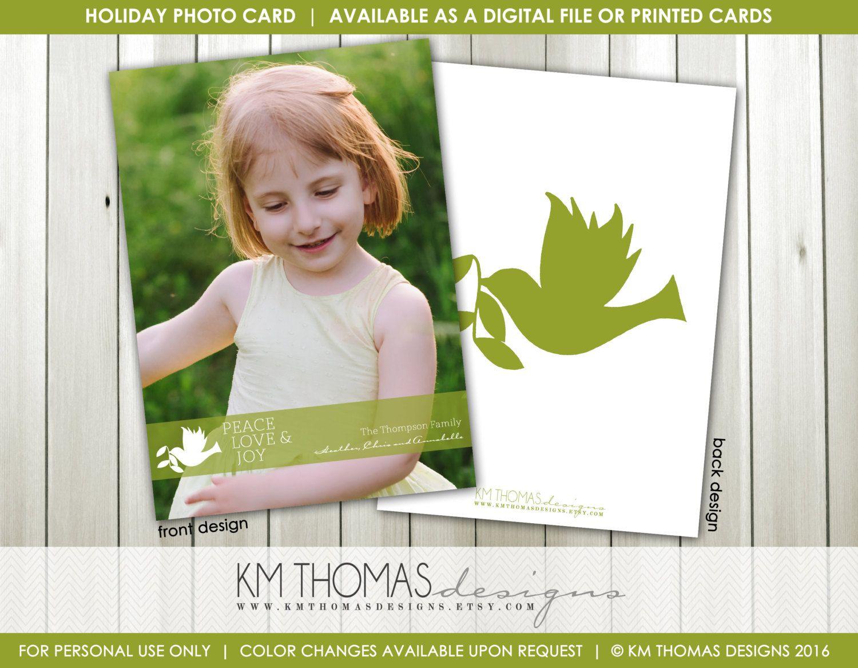Holiday Photo Card - Printable Photo Christmas Card - Dove Holiday ...