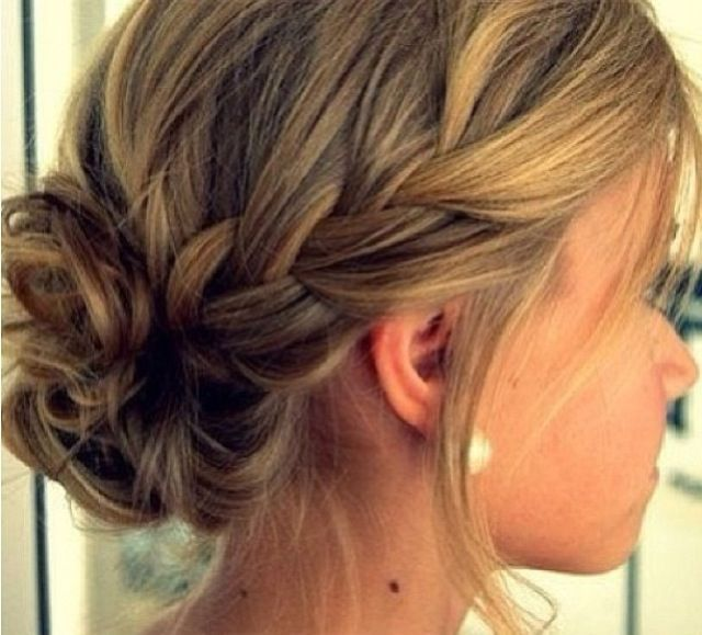 Simple Updo Braid Bridesmaid Hair Events Weddings Bridesmaid Hair Updospinterest Jpg 640 579 Hair Styles Medium Hair Styles Medium Length Hair Styles