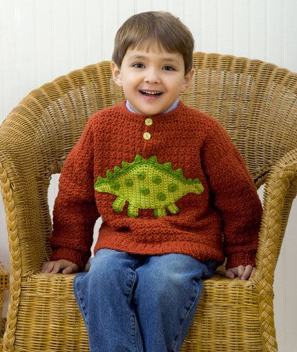 12a3369b5 Craft Passions  Boy s Dino Sweater.  free   crochet pattern link ...