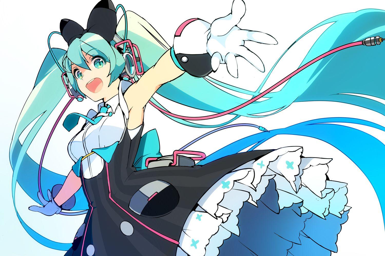 Anime Vocaloid Hatsune Miku Long Hair Twintails Blue Hair Blue Eyes