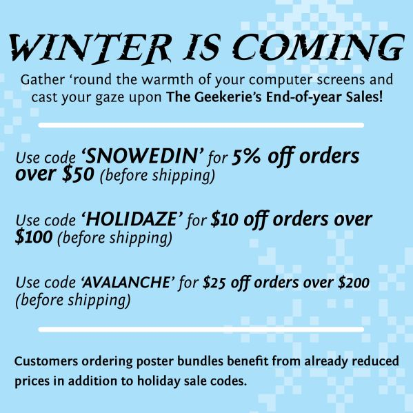 The Geekerie Holiday Sale Explosion! Help support small businesses, while decking the halls with unique art this holiday season!