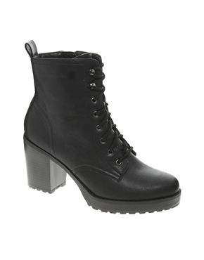 Image 1 of New Look Camden Chunky Work Lace Up Black Heeled Boots
