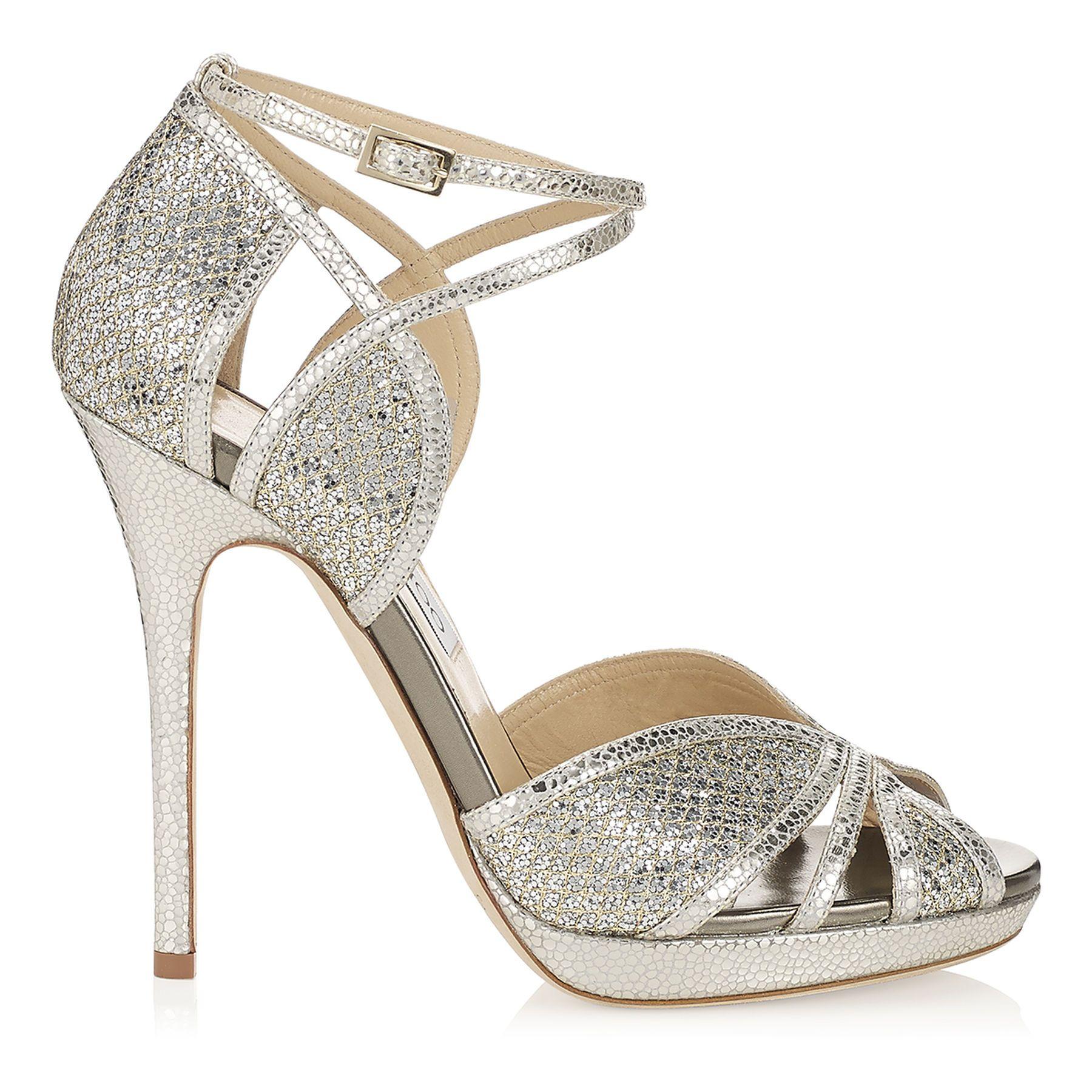 Jimmy Choo Fayme Glitter Women Platform Sandals Champagne