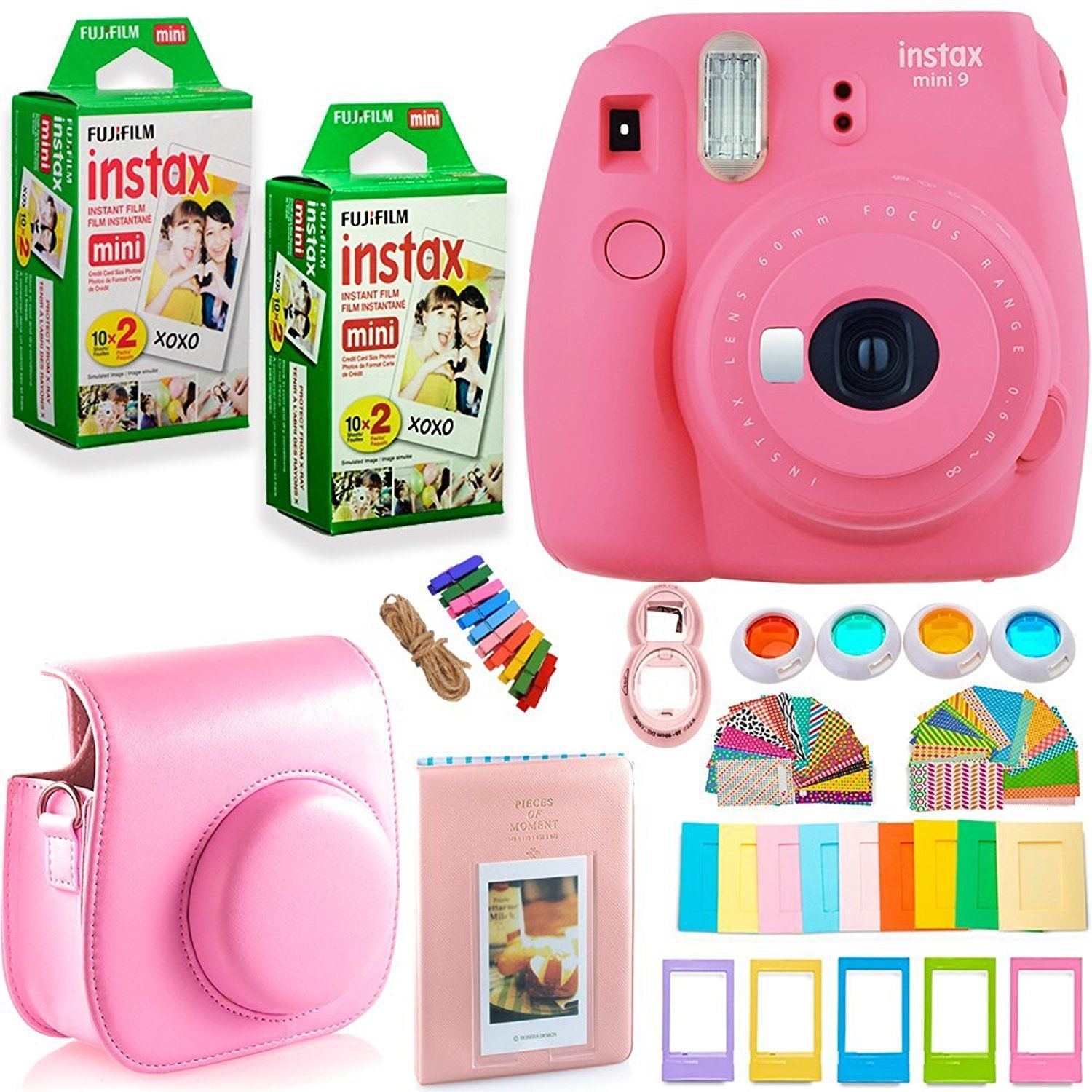 Fujifilm Instax Mini 9 Instant Camera ICE Blue with Custom Case Accessories Bundle Fuji Instax Film Value Pack 40 Sheets Color Filters Assorted Frames More Photo Album Selfie Lens