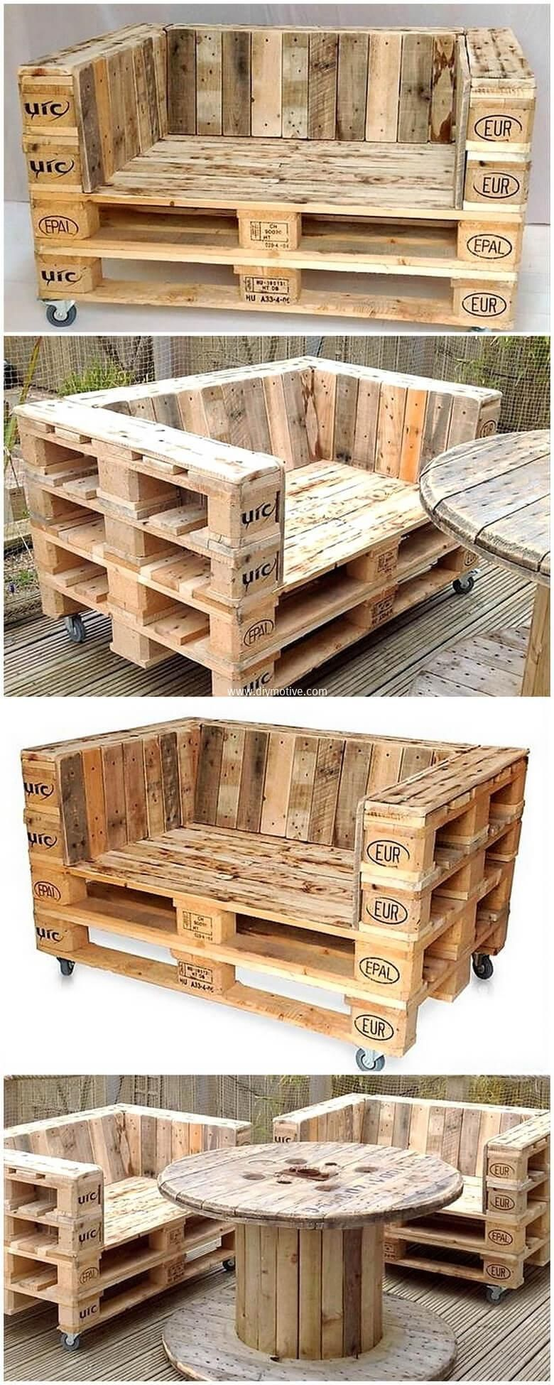 Arredo Giardino In Pallet wood pallet patio couch seating #palletcouchespatio