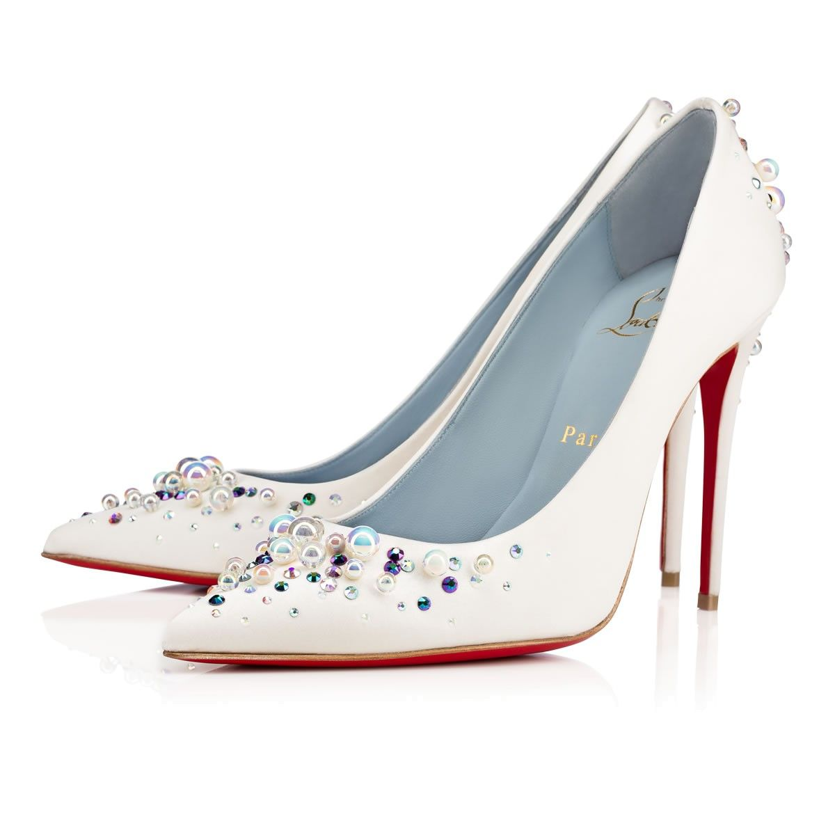 c20b6d76a4b CHRISTIAN LOUBOUTIN CANDIDATE CREPE SATIN 100 Off White Strass - Women Shoes  - Christian Louboutin.  christianlouboutin  shoes