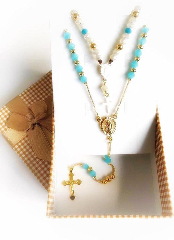 Christmas Gift Set, Rosary Necklace Set, Gold Rosary Bracelet, 2 Pieces Matching Set, Catholic Gift, Rosaries Jewelry Set, Gift for Her #rosaryjewelry